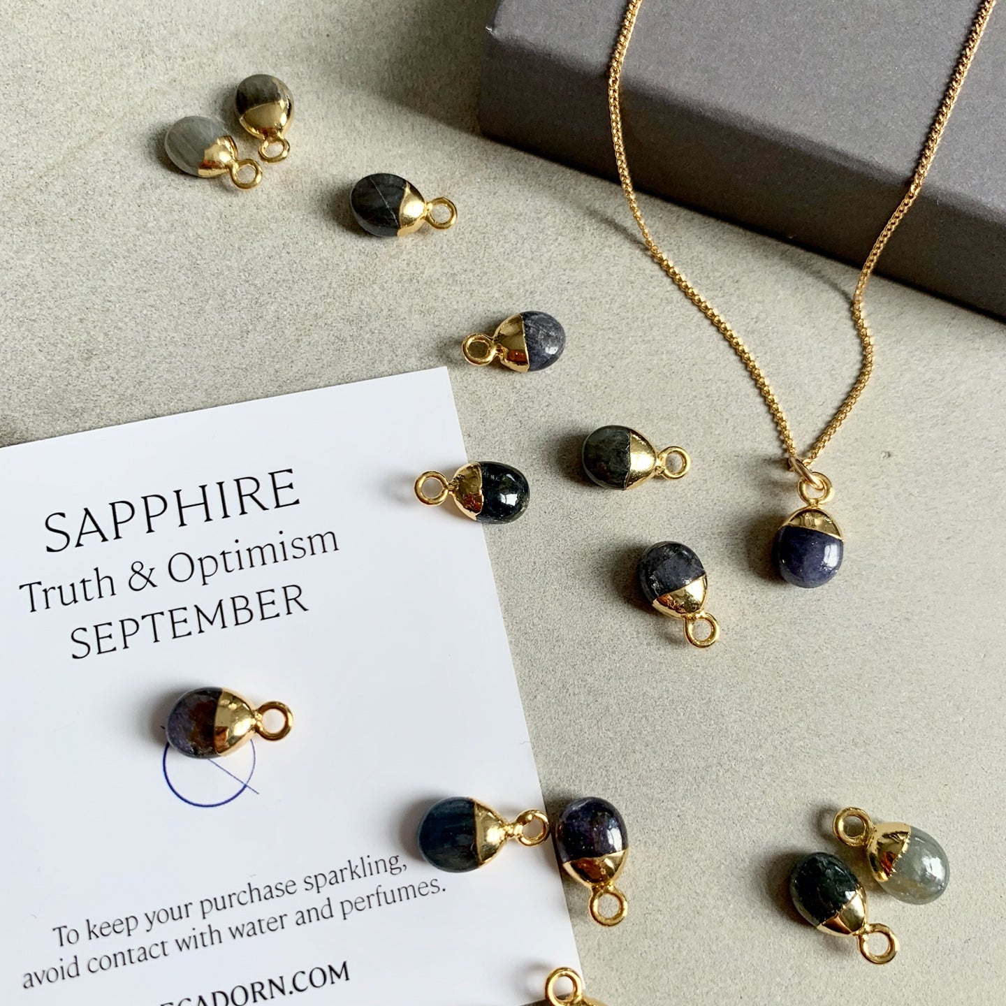Tiny Tumbled Gemstone Necklace - SEPTEMBER, Sapphire - Decadorn