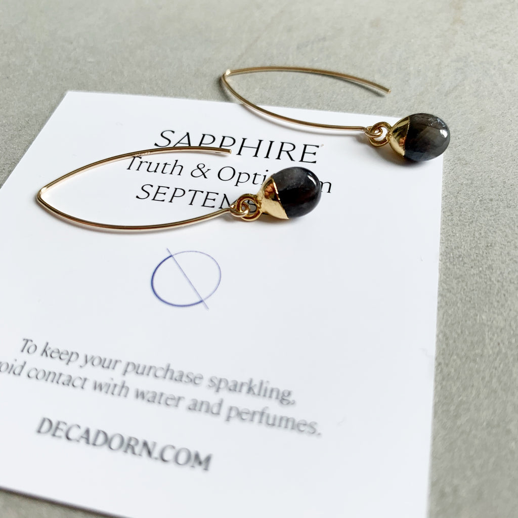 Tiny Tumbled Gemstone Dropper Earrings - SEPTEMBER, Sapphire - Decadorn