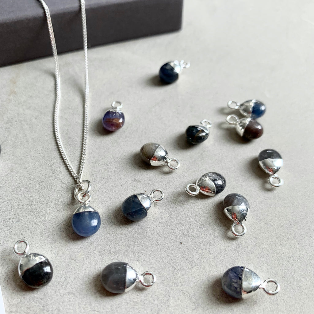 Tiny Tumbled Gemstone Necklace - Sterling Silver - SEPTEMBER, Sapphire - Decadorn