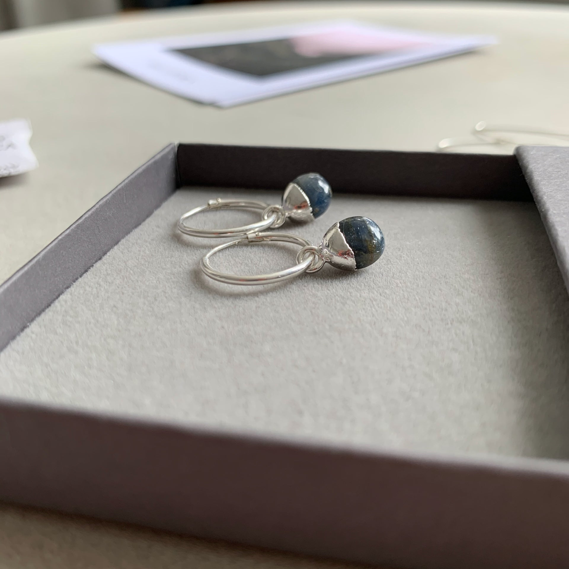 Tiny Tumbled Gemstone Hoop Earrings - Sterling Silver - SEPTEMBER, Sapphire - Decadorn