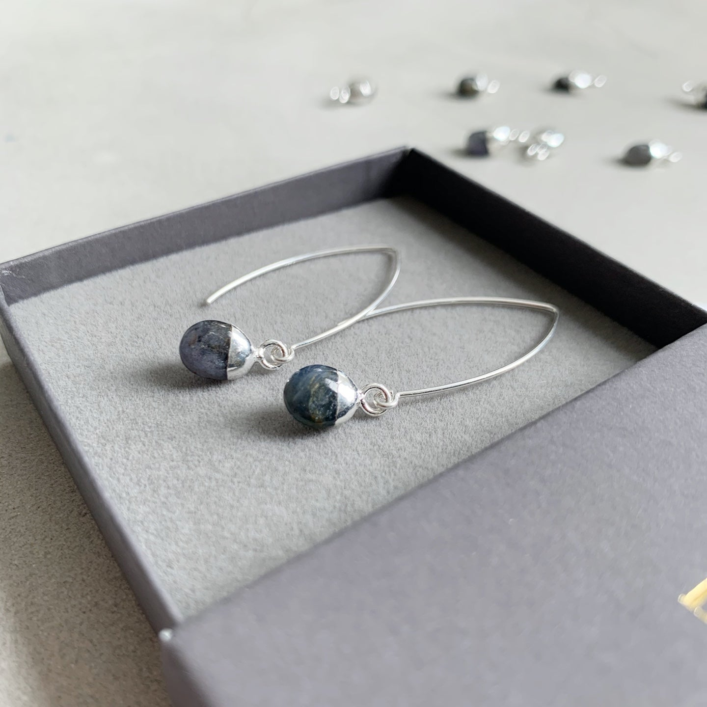 Tiny Tumbled Gemstone Dropper Earrings - Sterling Silver - SEPTEMBER, Sapphire - Decadorn