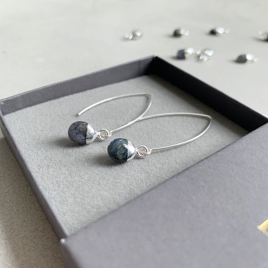 Tiny Tumbled Gemstone Dropper Earrings - Silver - SEPTEMBER, Sapphire - Decadorn