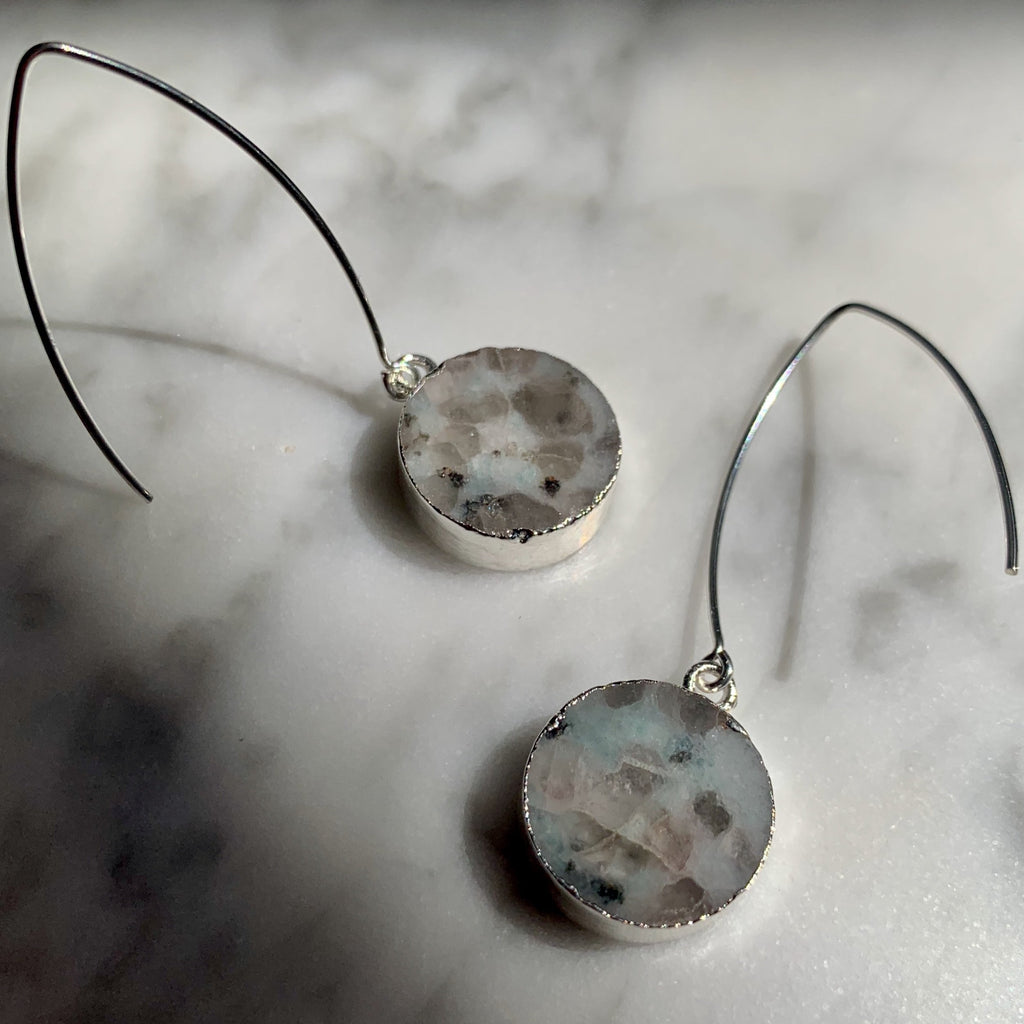 Mini Circle Dropper Earrings - Sterling Silver - Kiwi Jasper - Decadorn