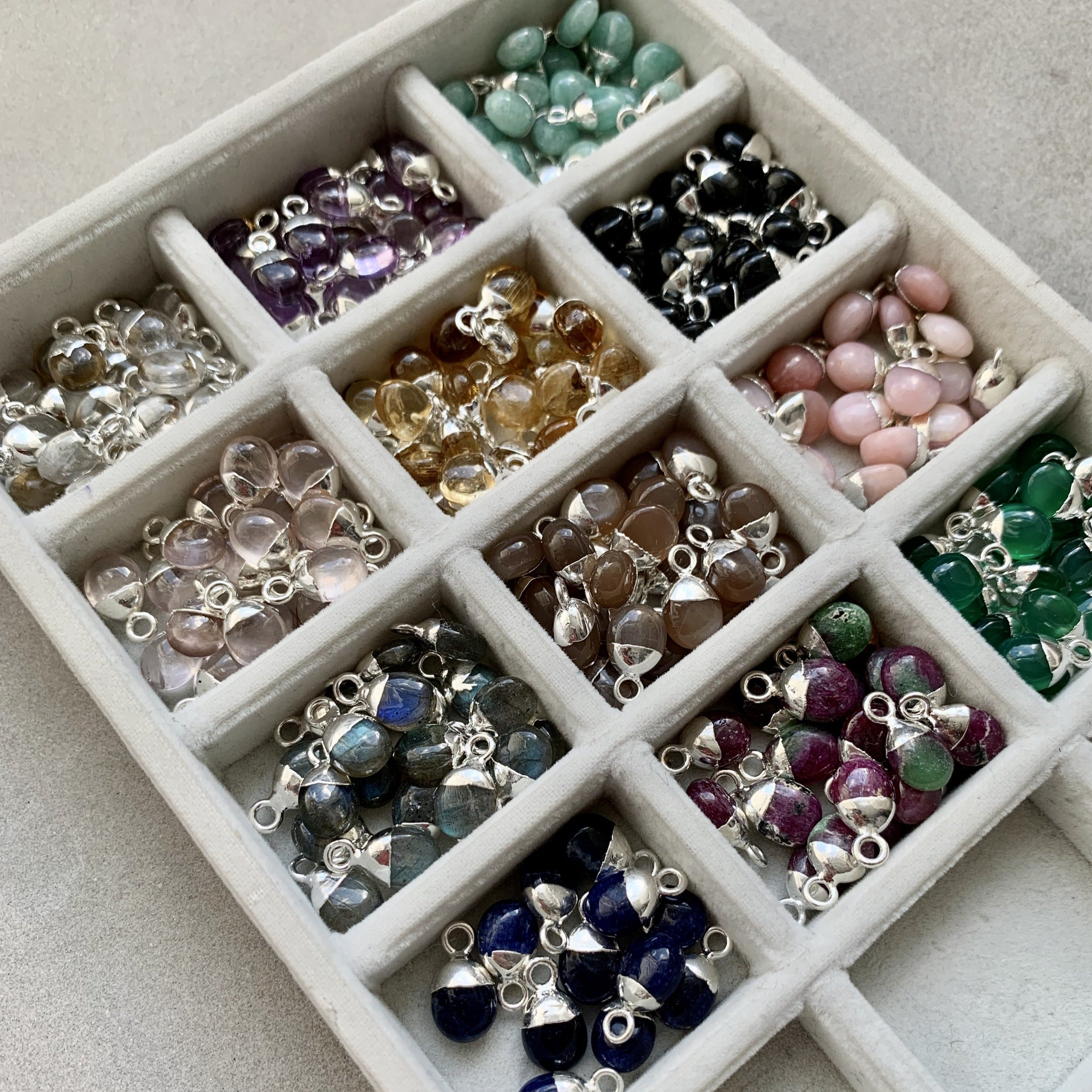 Set of 12 Tiny Tumbled Pendants - Decadorn