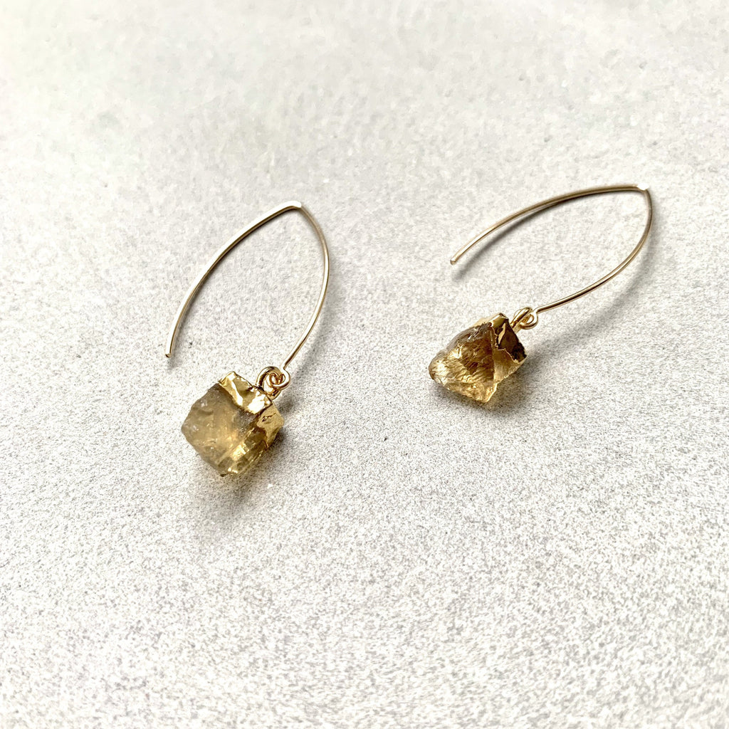 Birthstone Dropper Earrings - NOVEMBER, Citrine - Decadorn