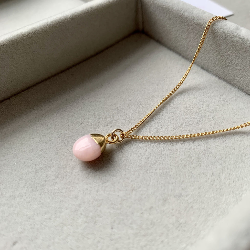 Tiny Tumbled Gemstone Necklace - OCTOBER, Pink Opal (Hope) - Decadorn