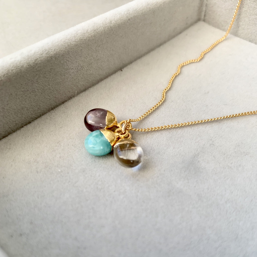 Tiny Tumbled Triple Necklace - Healing, Calming and Confidence - Decadorn