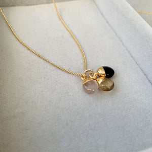 Tiny Tumbled Triple Necklace - Love, Success and Strength - Decadorn