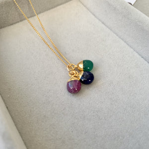 Tiny Tumbled Triple Necklace - Protection, De-stress, Inspiration - Decadorn