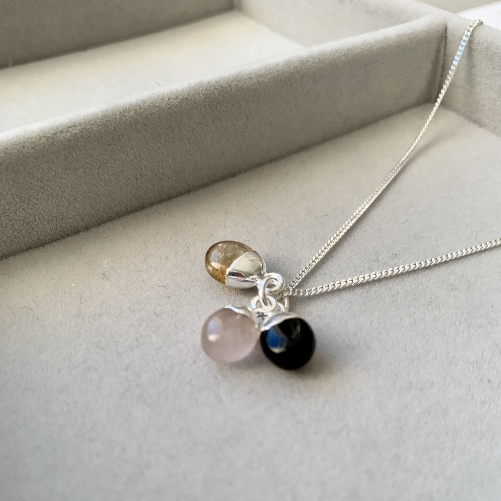 Tiny Tumbled Triple Necklace - Sterling Silver - Love, Success and Strength - Decadorn