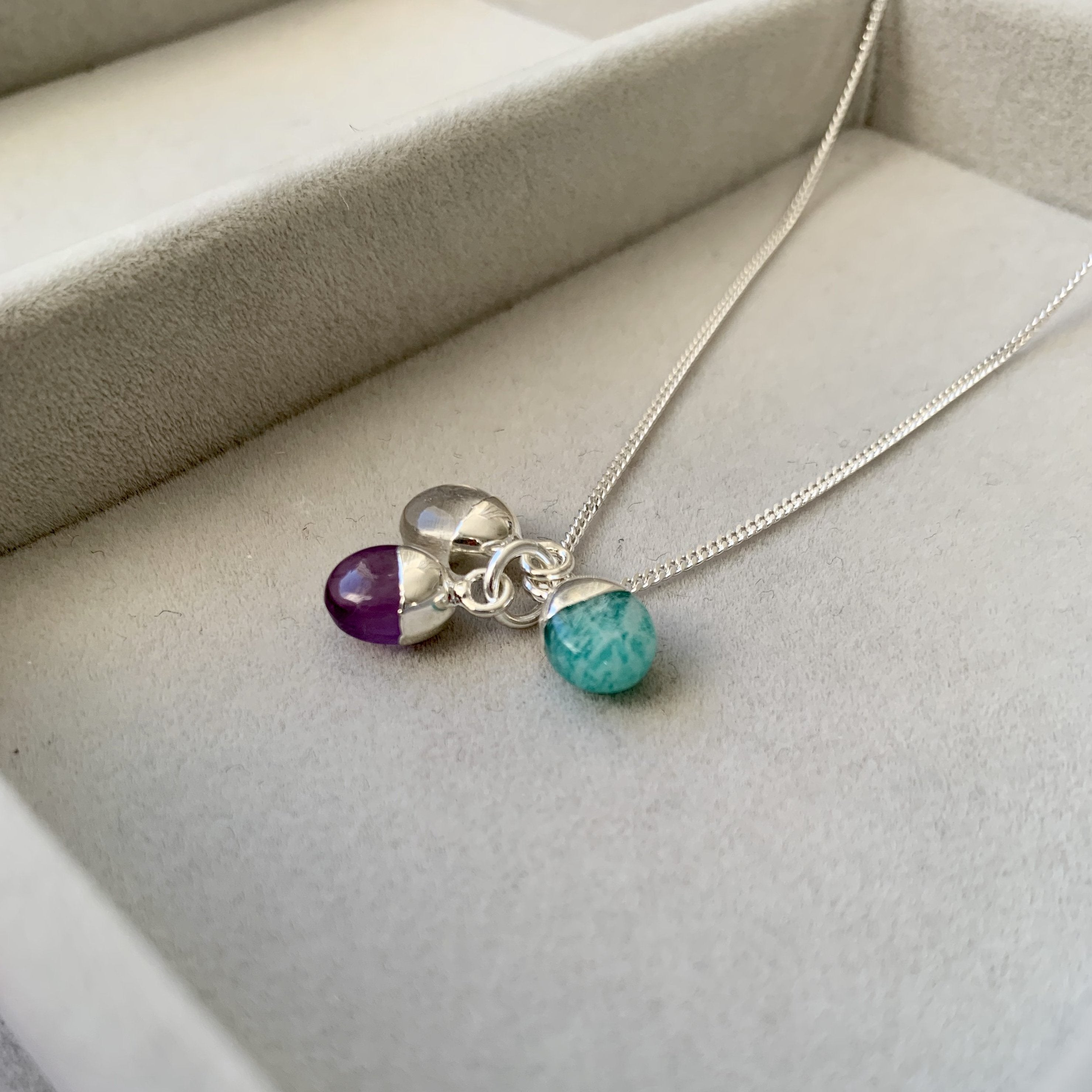 Tiny Tumbled Triple Necklace - Sterling Silver - Healing, Calming and Confidence - Decadorn