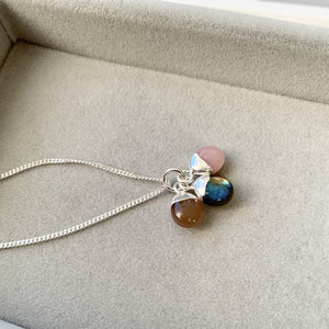 Tiny Tumbled Triple Necklace - Silver - New Beginnings, Adventure and Hope - Decadorn
