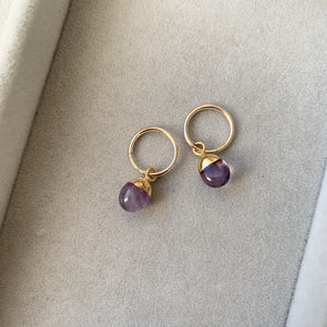 Tiny Tumbled Gemstone Hoop Earrings - Amethyst (Calming) - Decadorn