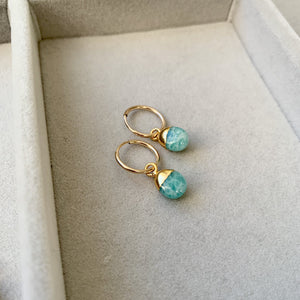 Tiny Tumbled Gemstone Hoop Earrings - Amazonite (Confidence) - Decadorn