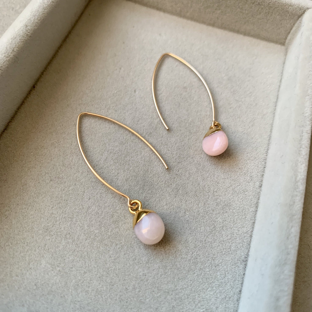 Tiny Tumbled Gemstone Dropper Earrings - Pink Opal (Hope) - Decadorn