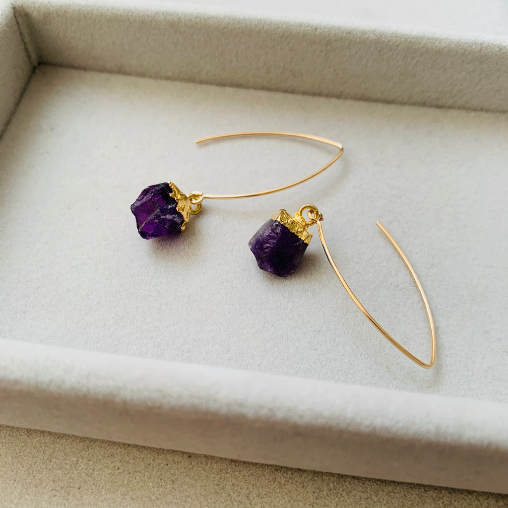 Birthstone Dropper Earrings - FEBRUARY, Amethyst - Decadorn