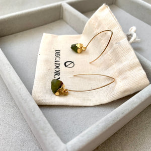 Birthstone Dropper Earrings - AUGUST, Peridot - Decadorn