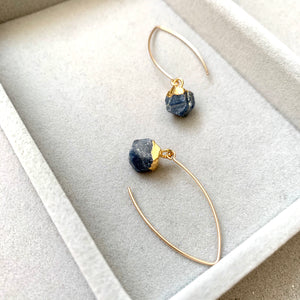 Birthstone Dropper Earrings - SEPTEMBER, Sapphire - Decadorn