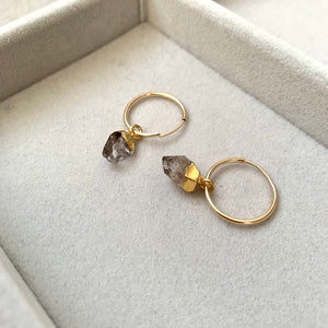 Birthstone Hoop Earrings -  APRIL, Herkimer Diamond - Decadorn