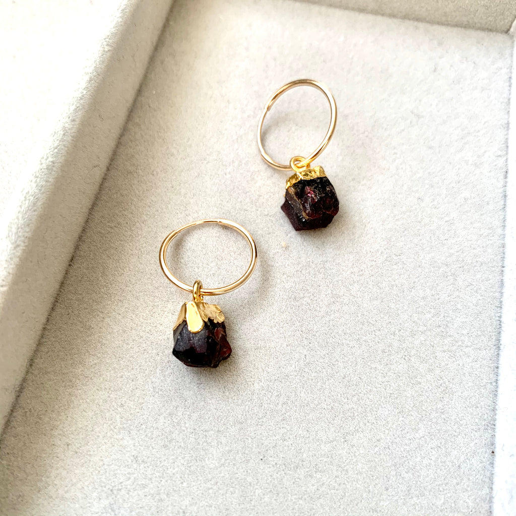 Birthstone Hoop Earrings - JANUARY, Garnet - Decadorn