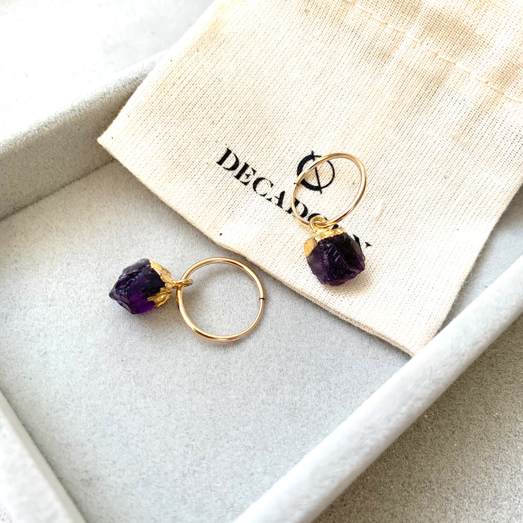 Birthstone Hoop Earrings - FEBRUARY, Amethyst - Decadorn