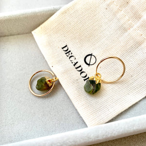 Birthstone Hoop Earrings - AUGUST, Peridot - Decadorn