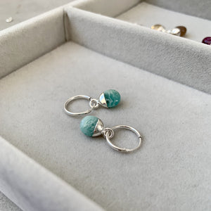 Tiny Tumbled Gemstone Hoop Earrings - Sterling Silver - Amazonite (Confidence) - Decadorn