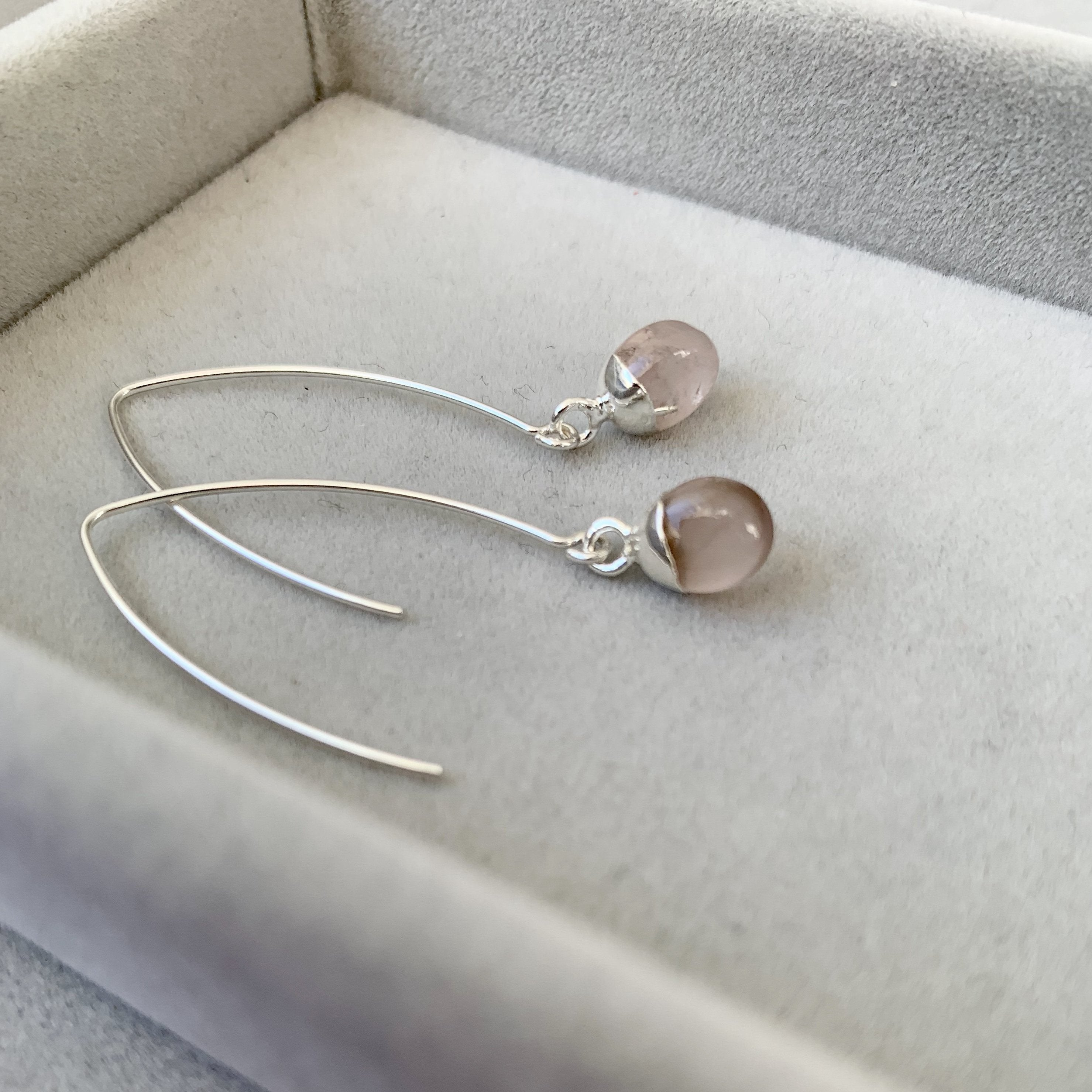 Tiny Tumbled Gemstone Dropper Earrings - Silver - Rose Quartz (Love) - Decadorn