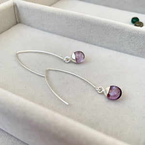 Tiny Tumbled Gemstone Dropper Earrings - Silver - Amethyst (Calming) - Decadorn