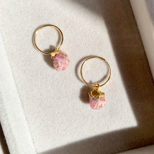 Birthstone Hoop Earrings - OCTOBER, Pink Tourmaline - Decadorn