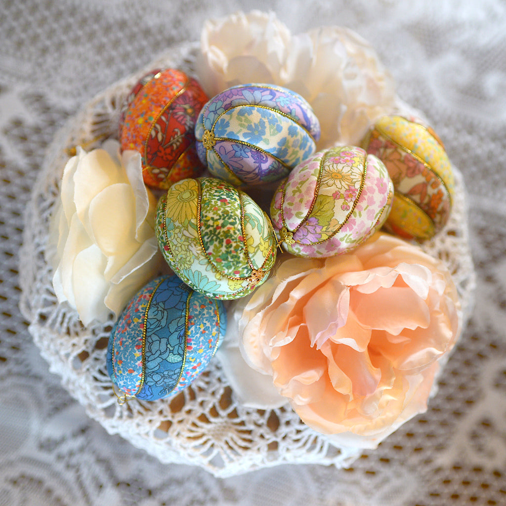 colorful Easter egg ornament centerpiece with peonies
