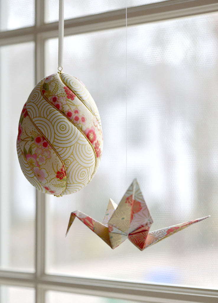 ivory, pink and red washi-paper inspired Easter egg ornament