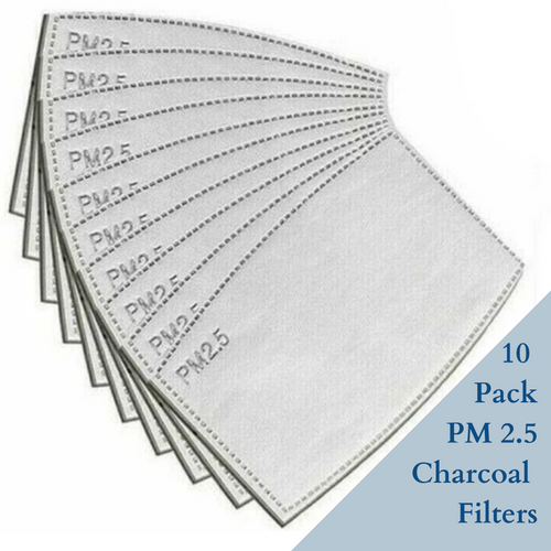 10 PK Charcoal Filter Inserts PM 2.5 - Face Mask Love
