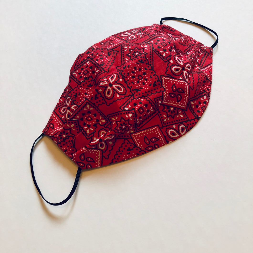 Bandana Cotton Oval Pleater Face Mask- - Face Mask Love