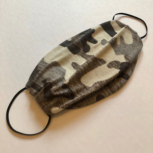 Camouflage Knit Jersey Oval Pleater Face Mask - Face Mask Love