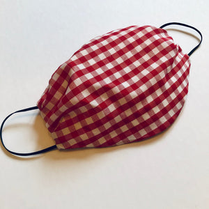 Gingham Cotton Oval Pleater Face Mask- - Face Mask Love
