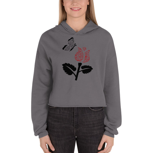 Women's Crop Hoodie with Rose and butterfly - Shaggaggy