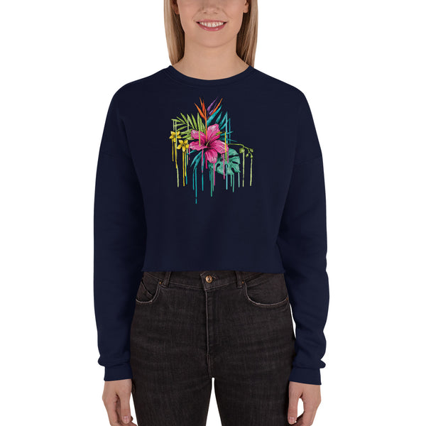 Women's Crop Sweatshirt with colourful flowers - Shaggaggy