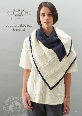 Cleckheaton Square Cable Top and Shawl