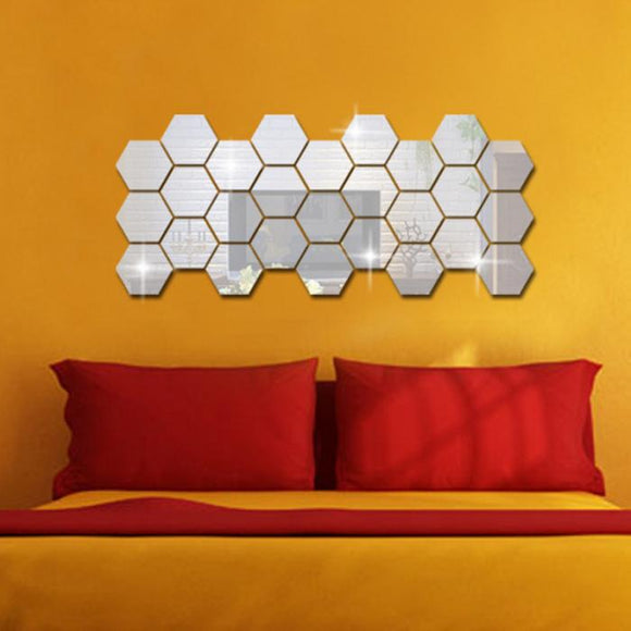 3D Hexagon Acrylic Mirror Wall Stickers (12 pcs) - Molo Mart