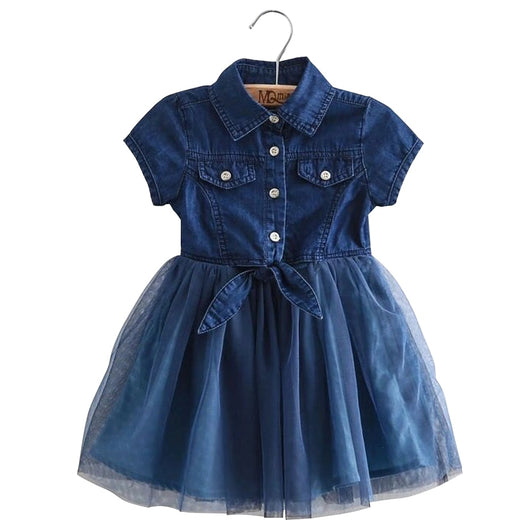 Clode for 2-7 Years Old Fashion Toddler Kids Baby Girls Flower Embroidery Denim Princess Dress Summer Clothes