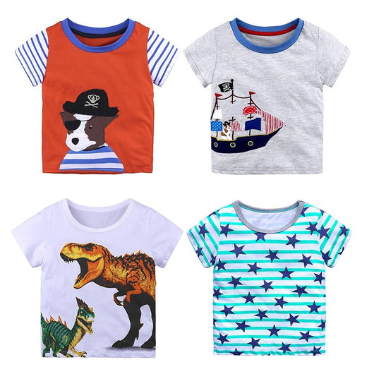 Toddler Baby Boy Summer Short Sleeve Cartoon Dinosaur Print Tops T-Shirt Clothes