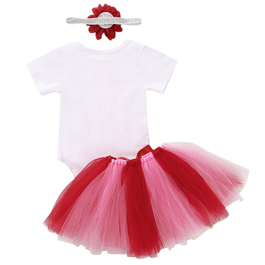 Newborn Baby Girls Valentine/'s Day Clothes Romper Tops+Tutu Skirt Outfits 3pcs