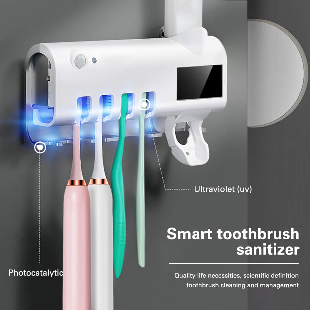 3 In 1 UV Toothbrush Sterilizer and Automatic Toothpaste Squeezer Dispenser