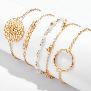 Gold Flower-Leaf Bracelet Set
