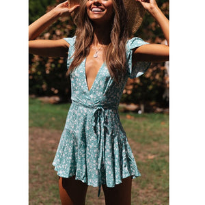 Deep V Neck Floral Print Dress
