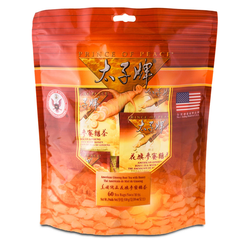 Prince of Peace American Ginseng Root Tea w/Honey, 60 tea bags