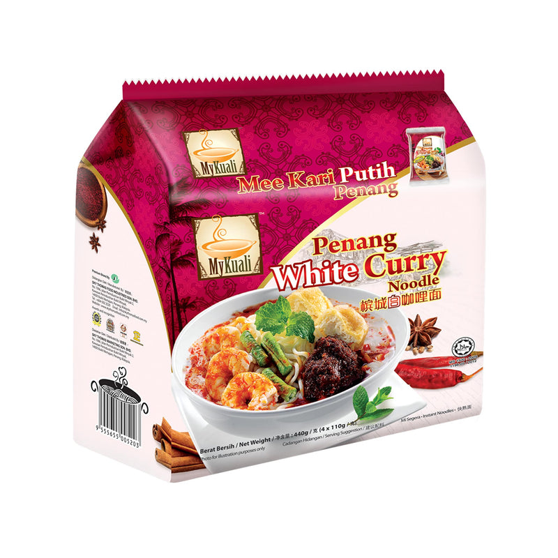 MyKuali Penang White Curry Instant Noodle, 4 packets