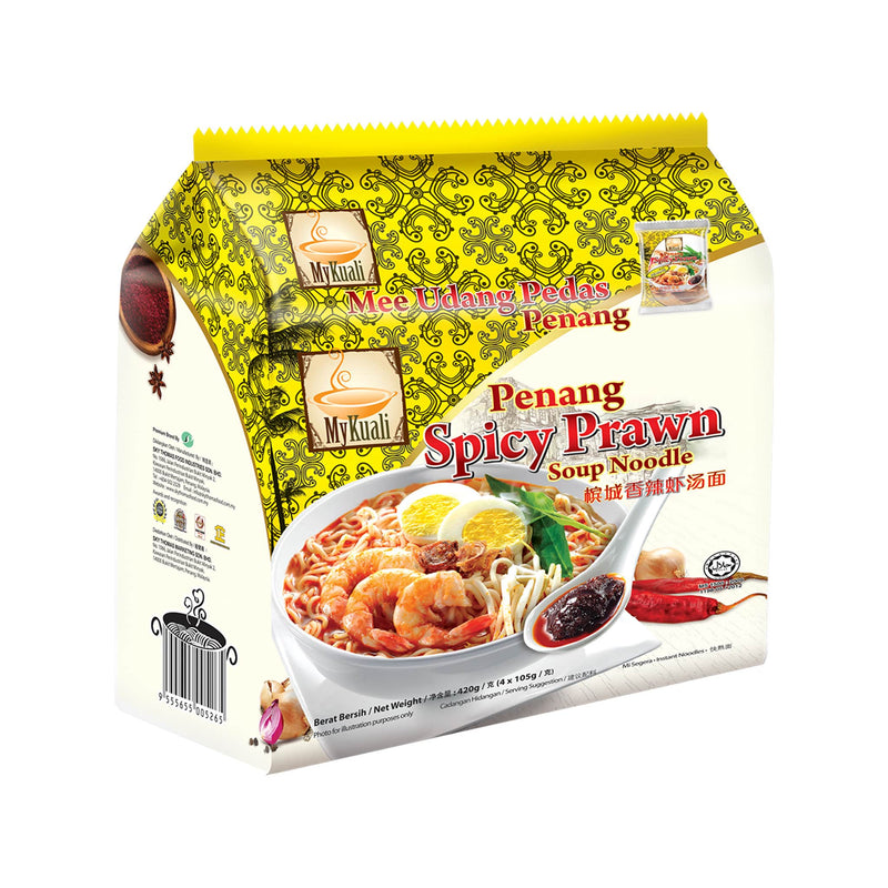 MyKuali Penang Spicy Prawn Instant Soup Noodle, 4 packets