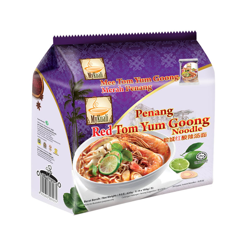 MyKuali Penang Red Tom Yum Goong Instant Noodle, 4 packets